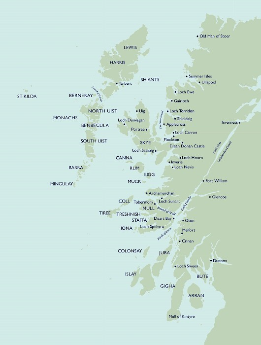 Holy Loch Scotland Map.Cruising Area Scottish Cruise The Majestic Line