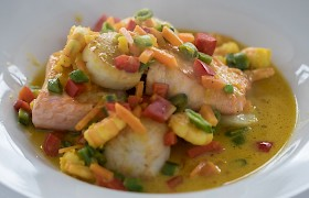 Seafood in a white wine and saffron broth