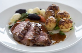 Pan seared duck breast with redcurrant jus