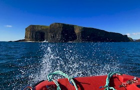 Staffa from the tender, by Flick Turnbull